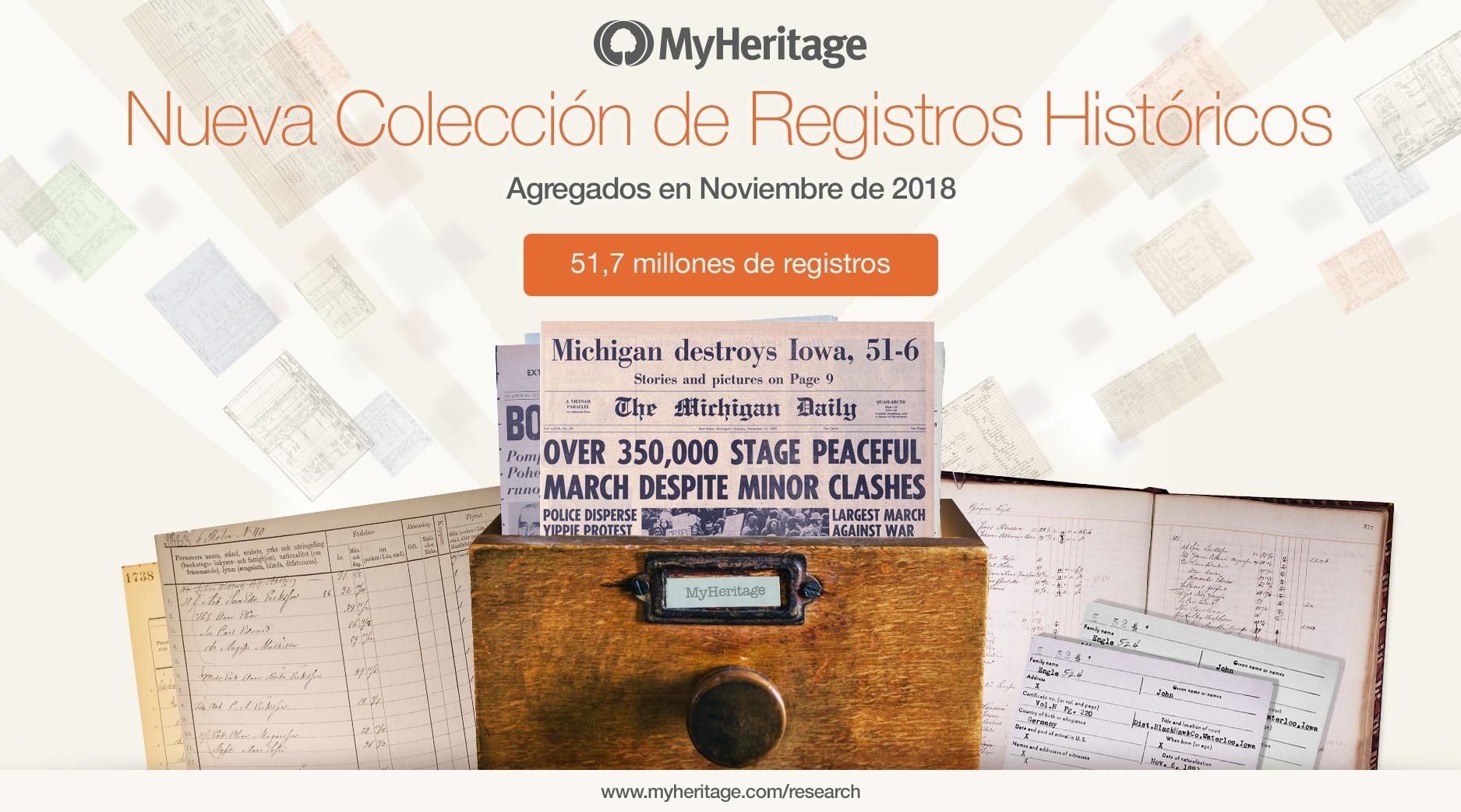 Nuevos Registros Históricos Añadidos en Noviembre de 2018