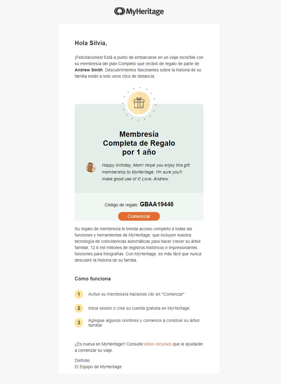 ¡Llega el regalo! El destinatario hace clic en «Empezar» para proceder y «activar» la membresía de regalo.